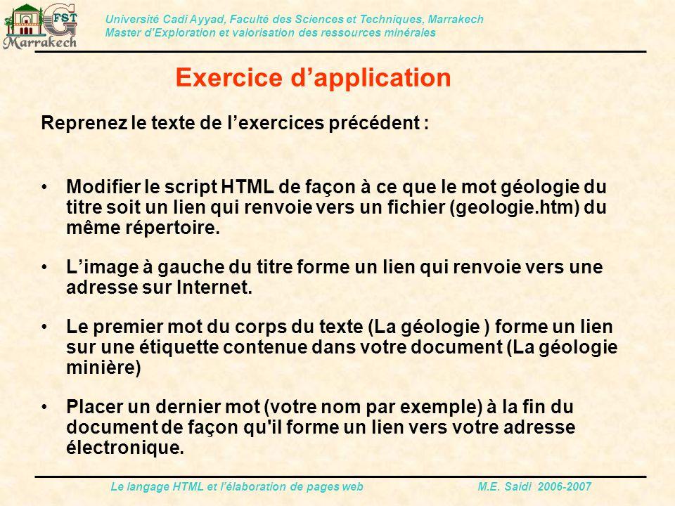 Le langage HTML et l'élaboration de pages web M.E. Saidi 2006-2007