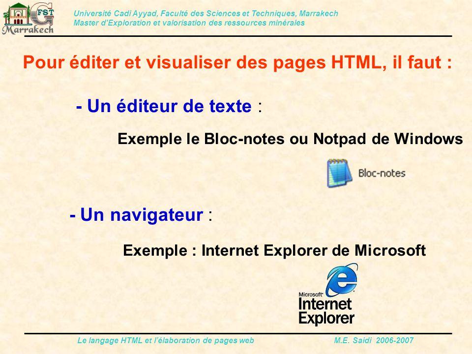 Pour éditer et visualiser des pages HTML, il faut :