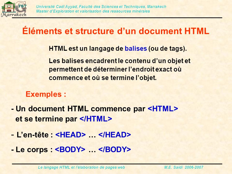 Éléments et structure d'un document HTML