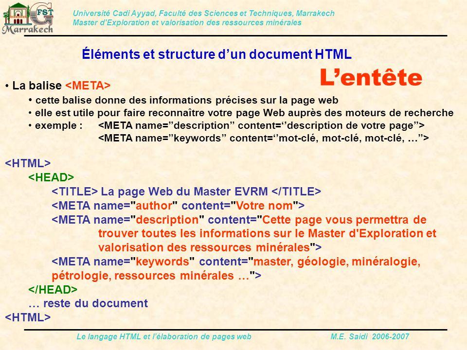 L'entête Éléments et structure d'un document HTML