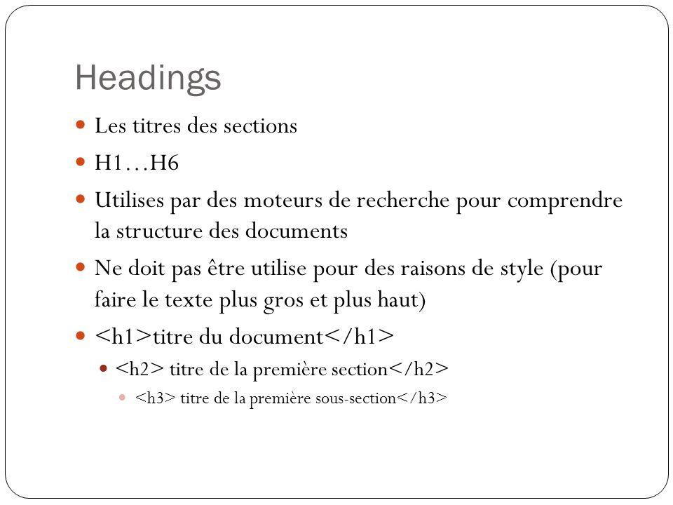 Headings Les titres des sections H1…H6