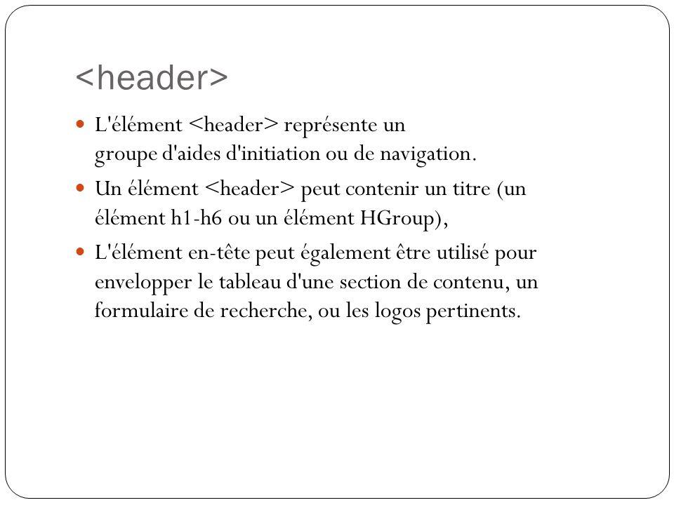 <header> L élément <header> représente un groupe d aides d initiation ou de navigation.