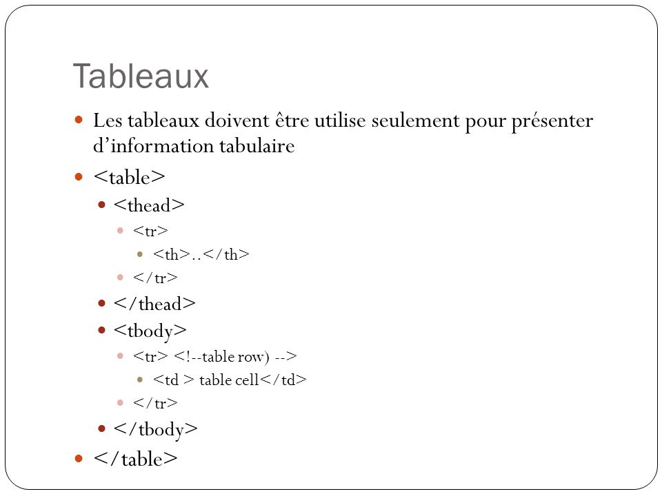 Tableaux Les tableaux doivent être utilise seulement pour présenter d'information tabulaire. <table>