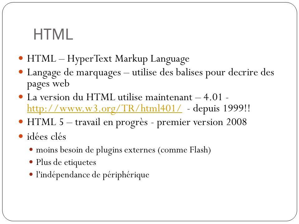 HTML HTML – HyperText Markup Language