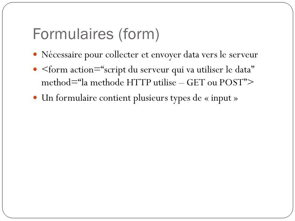 Formulaires (form) Nécessaire pour collecter et envoyer data vers le serveur.