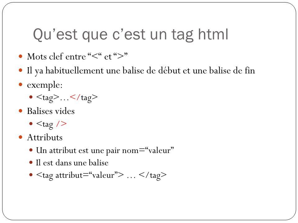 Qu'est que c'est un tag html