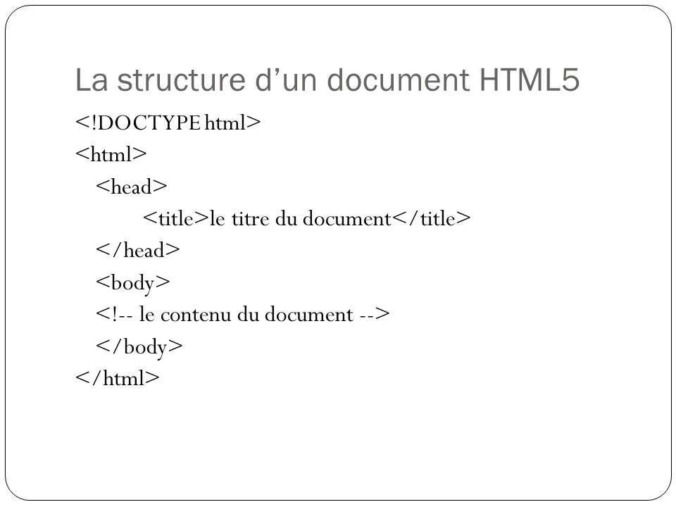 La structure d'un document HTML5