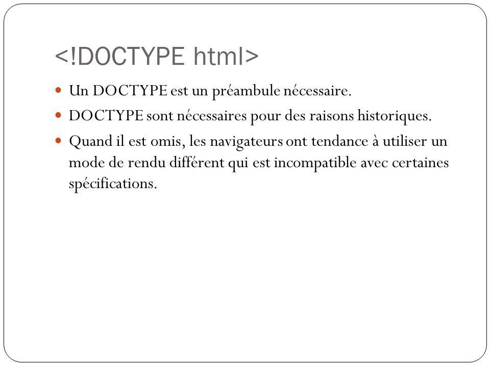 <!DOCTYPE html> Un DOCTYPE est un préambule nécessaire.