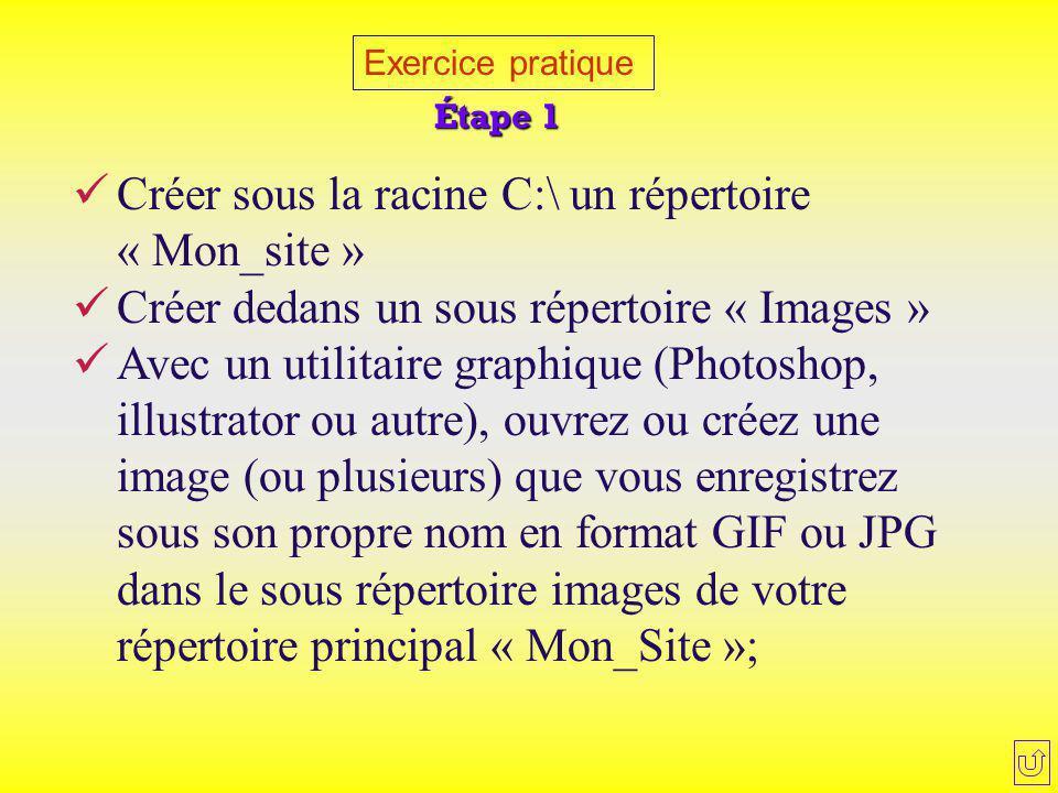 Créer sous la racine C:\ un répertoire « Mon_site »