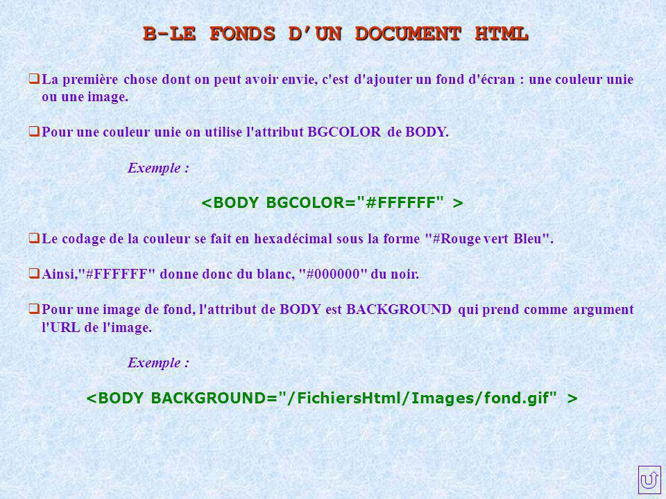 B-LE FONDS D'UN DOCUMENT HTML