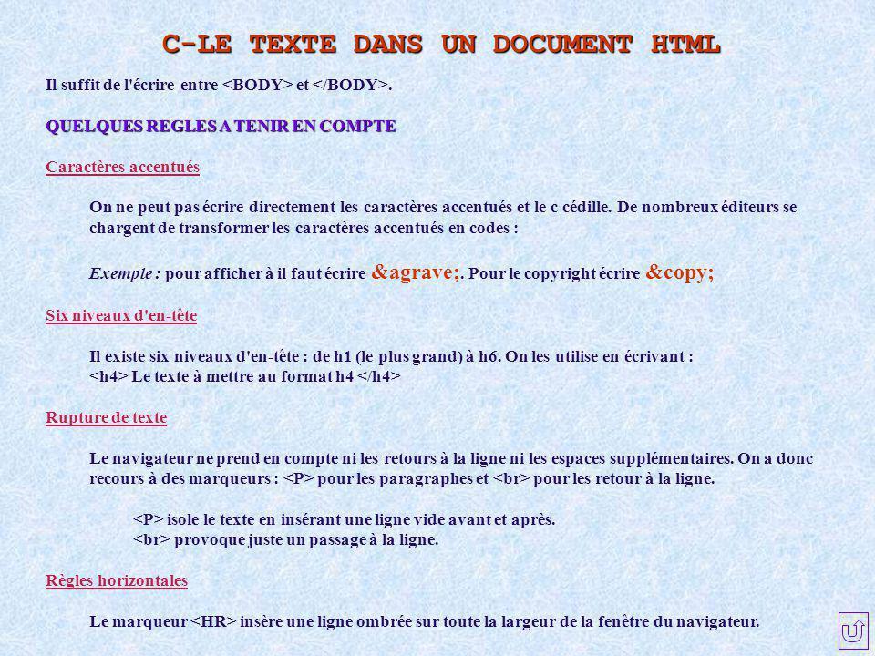 C-LE TEXTE DANS UN DOCUMENT HTML