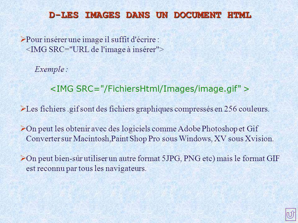 D-LES IMAGES DANS UN DOCUMENT HTML