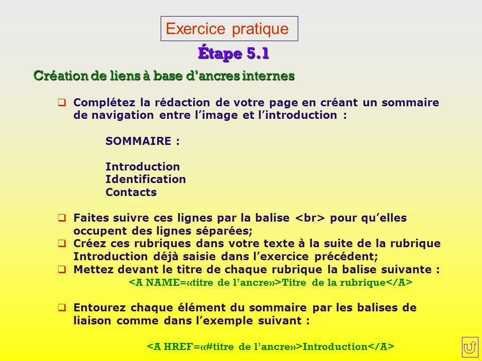Exercice pratique Étape 5.1 Création de liens à base d'ancres internes