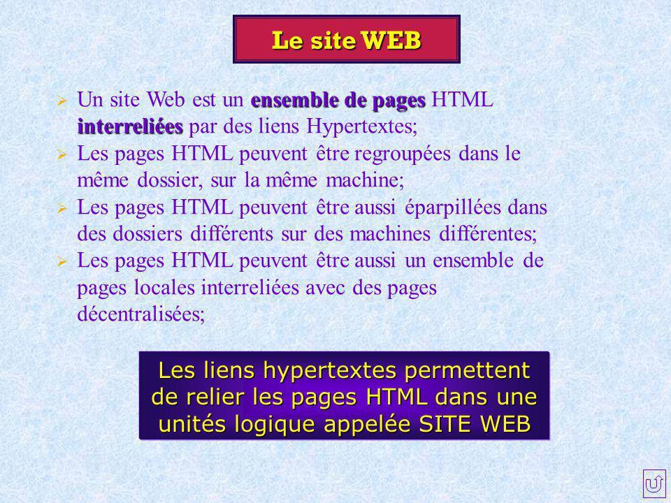 Le site WEB Un site Web est un ensemble de pages HTML interreliées par des liens Hypertextes;