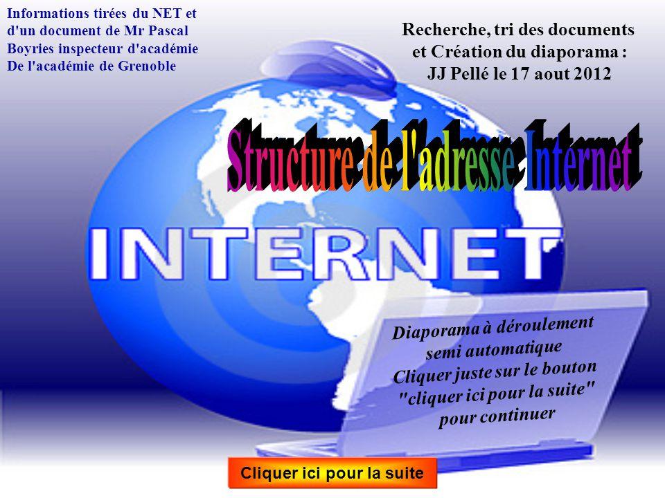 Structure de l adresse Internet Structure de l adresse Internet