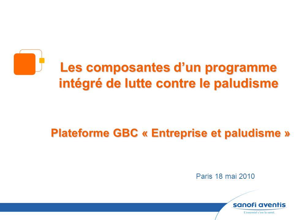 Les composantes d'un programme intégré de lutte contre le paludisme Plateforme GBC « Entreprise et paludisme »