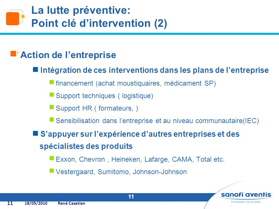 La lutte préventive: Point clé d'intervention (2)