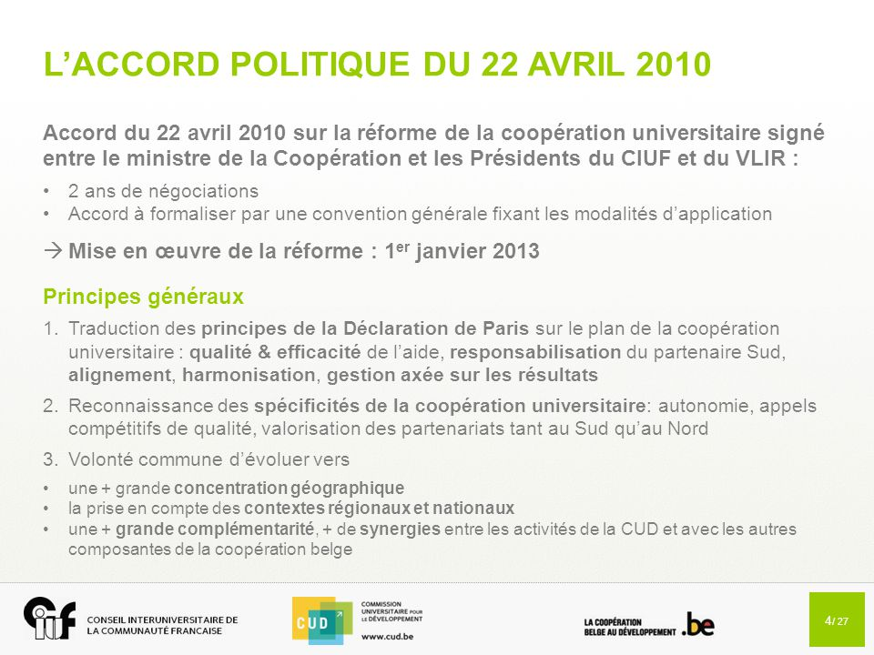 L'ACCORD POLITIQUE DU 22 AVRIL 2010