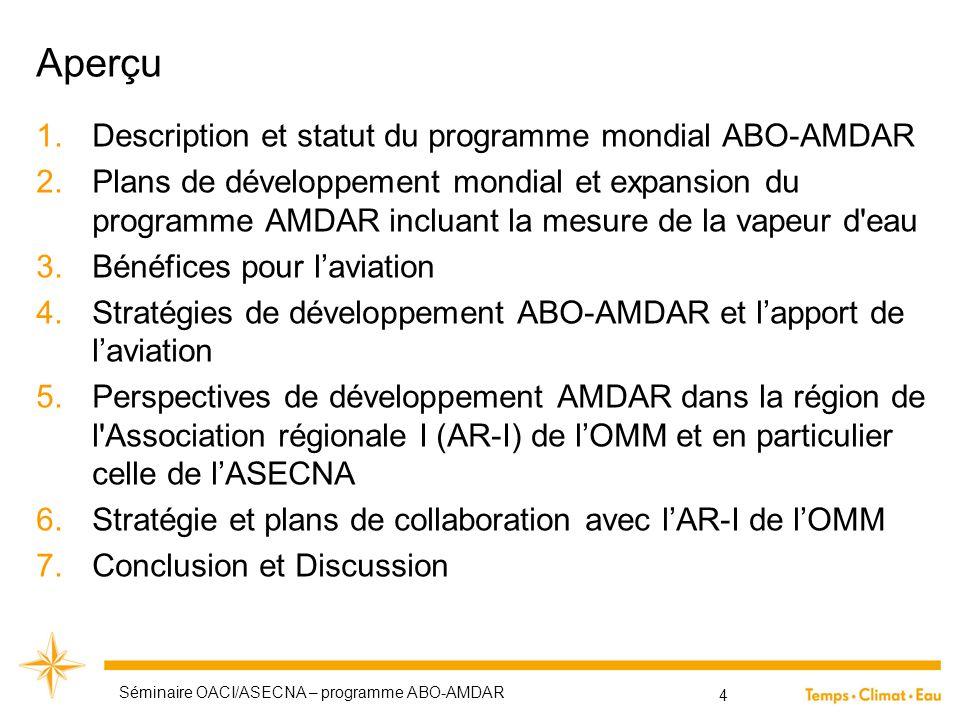 Aperçu Description et statut du programme mondial ABO-AMDAR