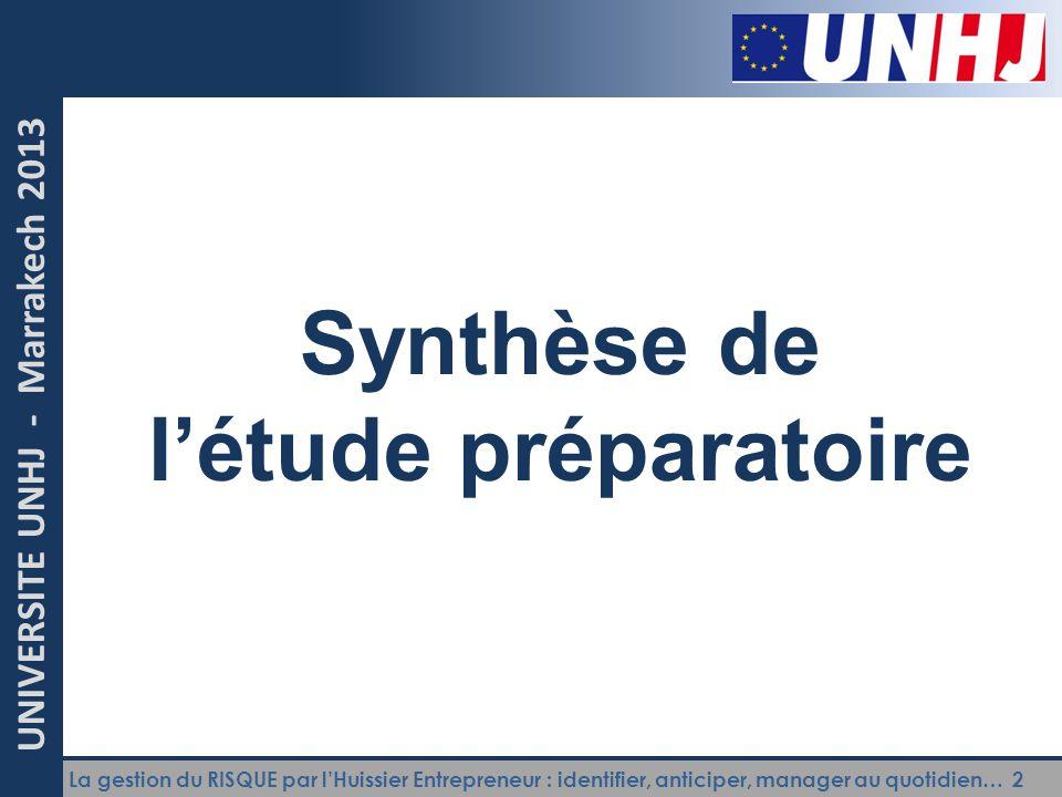 Synthèse de l'étude préparatoire