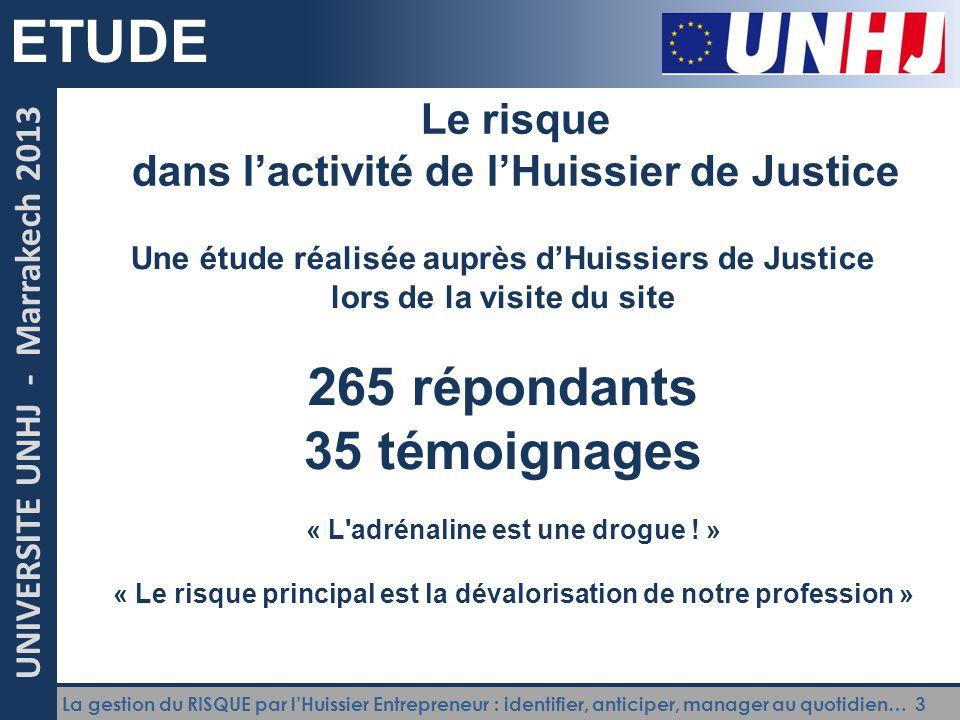 ETUDE 265 répondants 35 témoignages Le risque