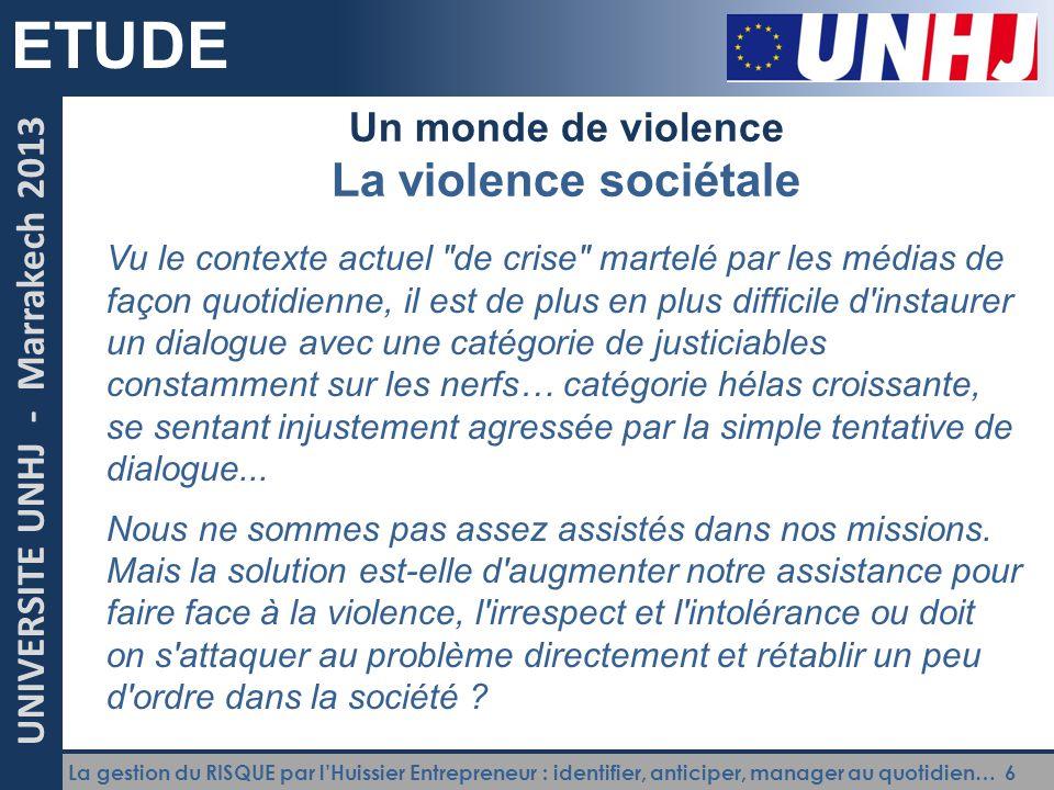 ETUDE La violence sociétale Un monde de violence