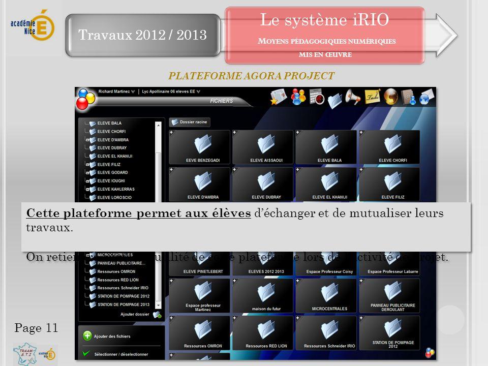 Le système iRIO Moyens pédagogiques numériques mis en œuvre