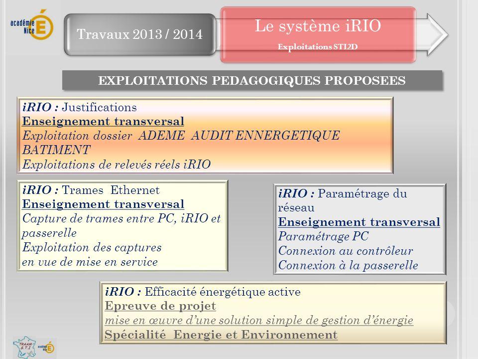 EXPLOITATIONS PEDAGOGIQUES PROPOSEES