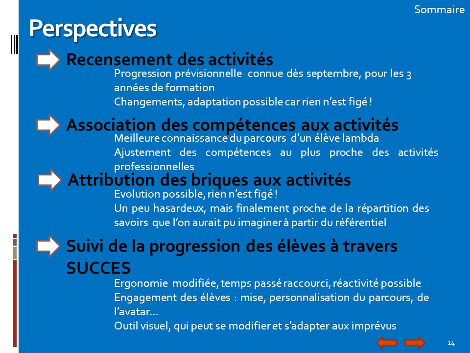 Perspectives Recensement des activités