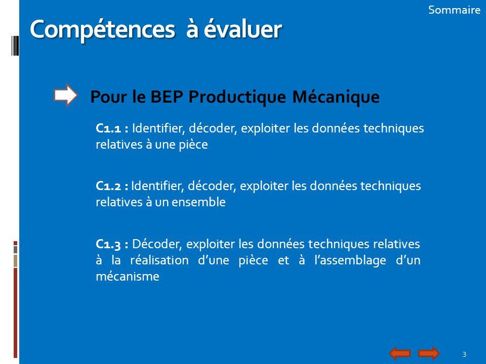 Compétences à évaluer Pour le BEP Productique Mécanique