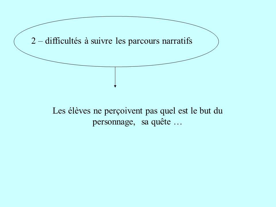 2 – difficultés à suivre les parcours narratifs