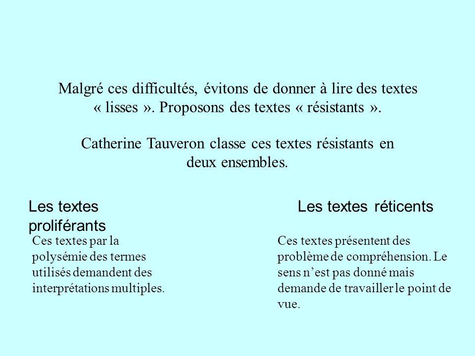 Catherine Tauveron classe ces textes résistants en deux ensembles.
