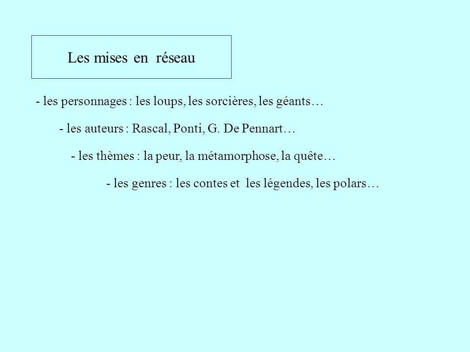 Les mises en réseau - les personnages : les loups, les sorcières, les géants… - les auteurs : Rascal, Ponti, G. De Pennart…