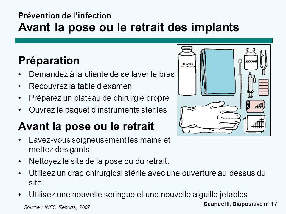 Prévention de l'infection Avant la pose ou le retrait des implants