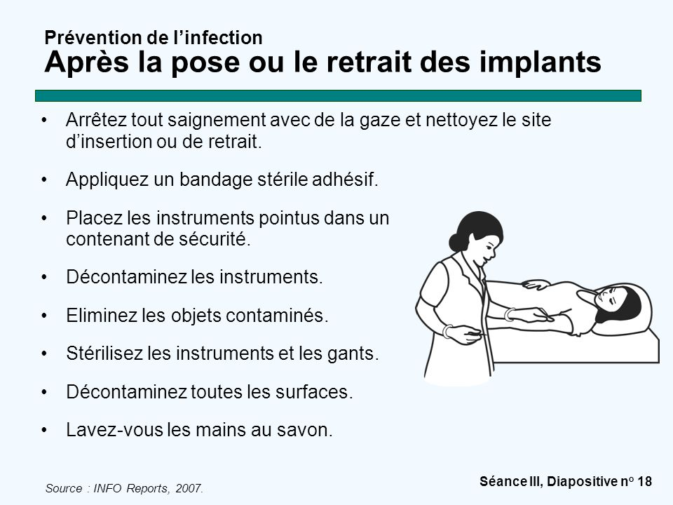 Prévention de l'infection Après la pose ou le retrait des implants