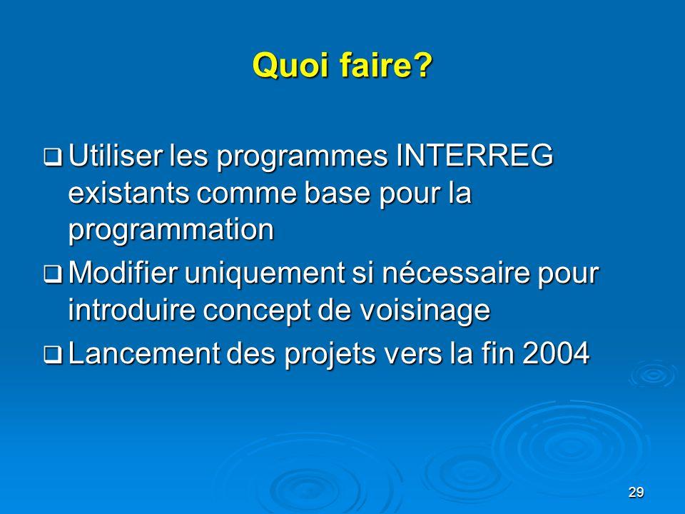 Quoi faire Utiliser les programmes INTERREG existants comme base pour la programmation.