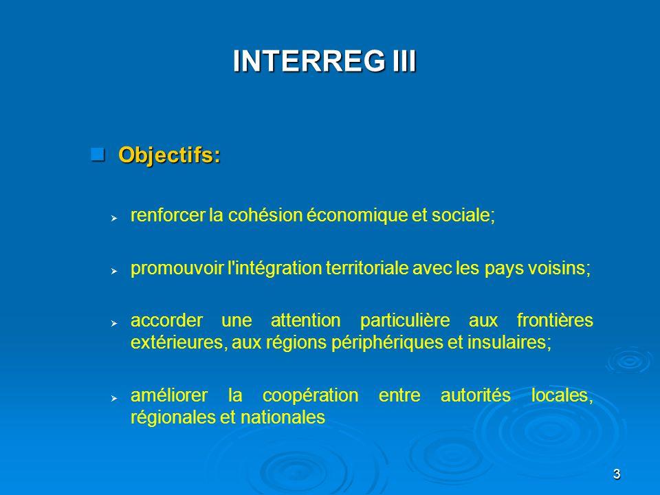 INTERREG III Objectifs: renforcer la cohésion économique et sociale;