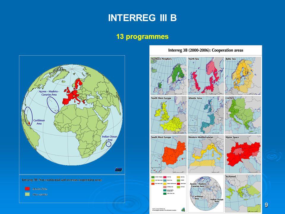 INTERREG III B 13 programmes