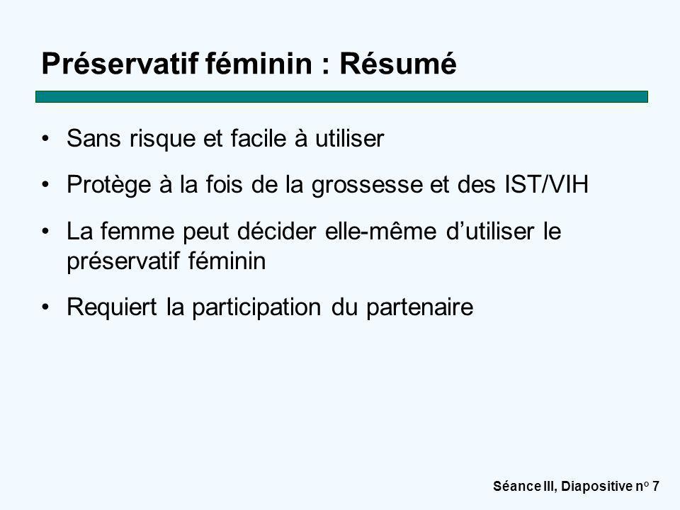 Préservatif féminin : Résumé