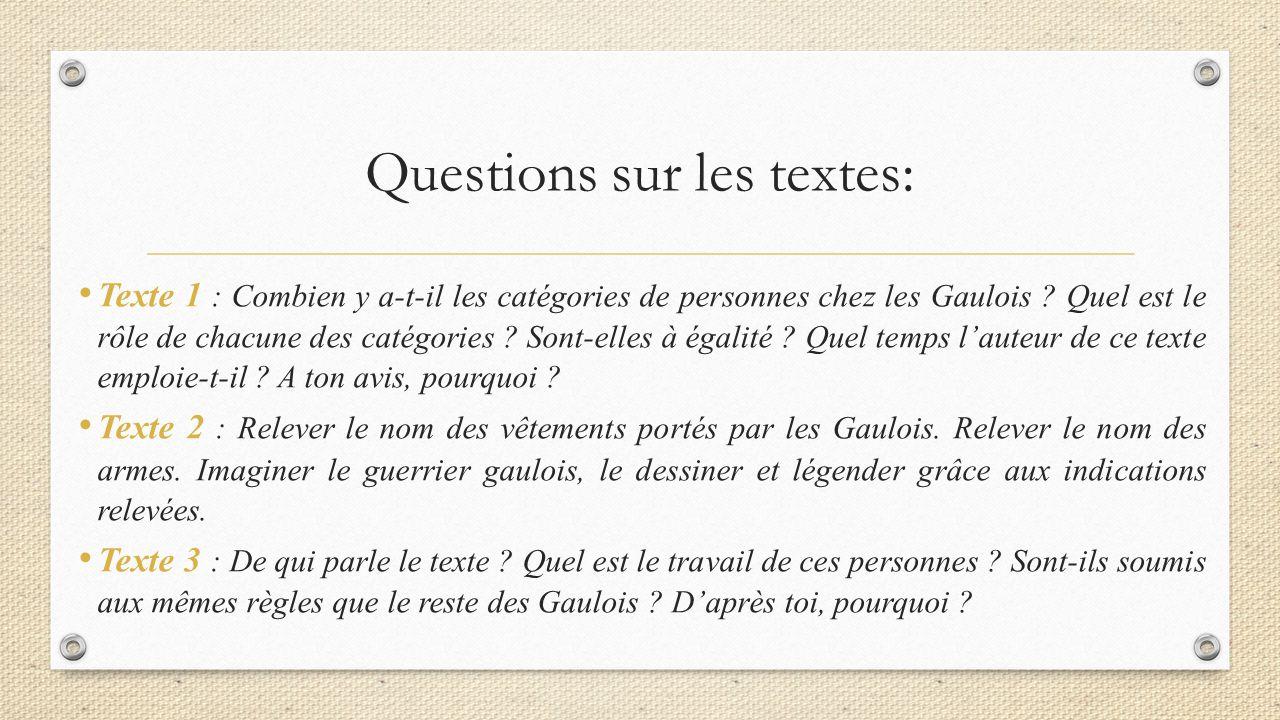 Questions sur les textes: