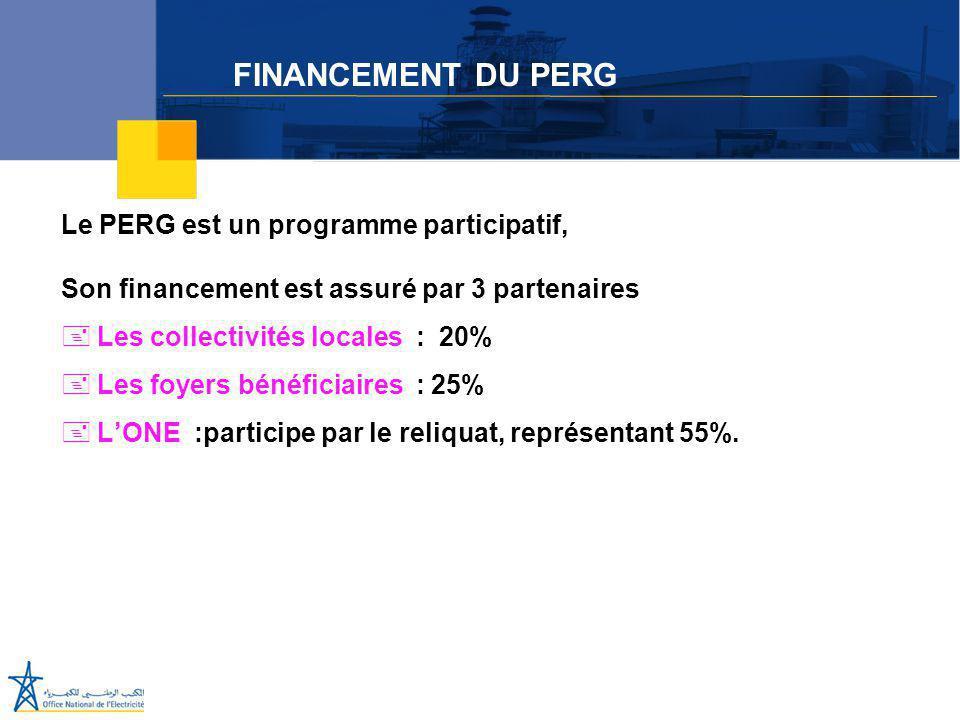 FINANCEMENT DU PERG Le PERG est un programme participatif,