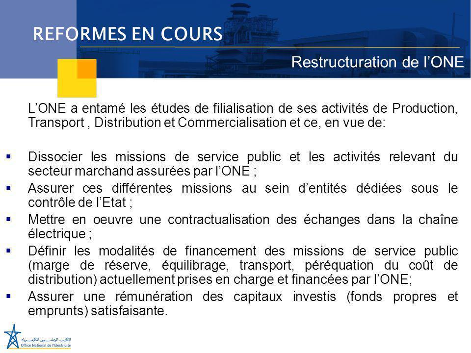 REFORMES EN COURS Restructuration de l'ONE
