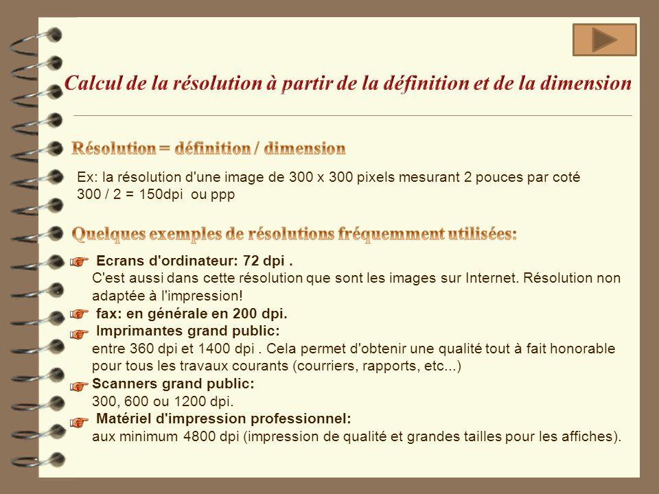 Calcul de la résolution à partir de la définition et de la dimension