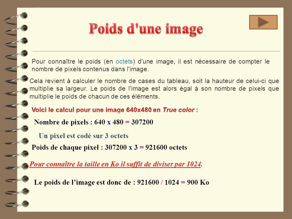 Poids d une image Nombre de pixels : 640 x 480 = 307200
