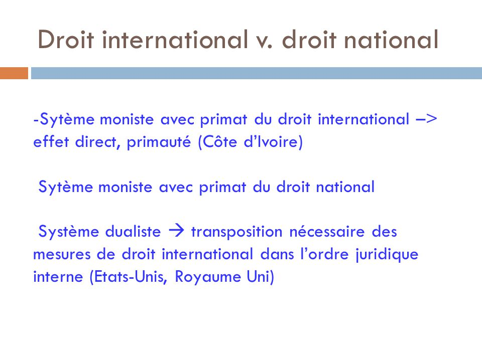 Droit international v. droit national