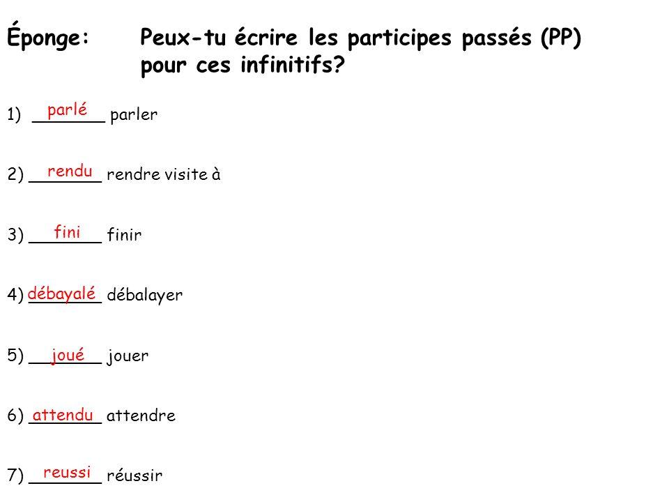 Éponge: Peux-tu écrire les participes passés (PP) pour ces infinitifs