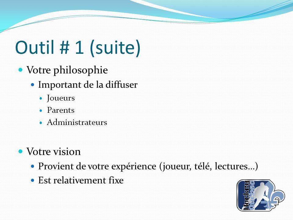 Outil # 1 (suite) Votre philosophie Votre vision