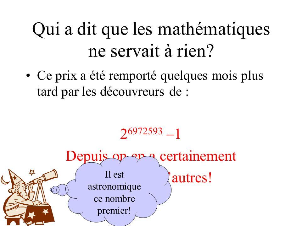 Qui a dit que les mathématiques ne servait à rien