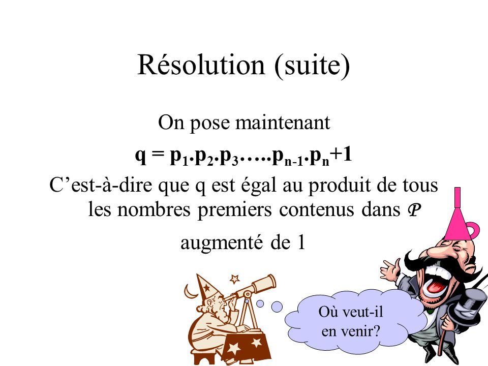 Résolution (suite) On pose maintenant q = p1.p2.p3…..pn-1.pn+1