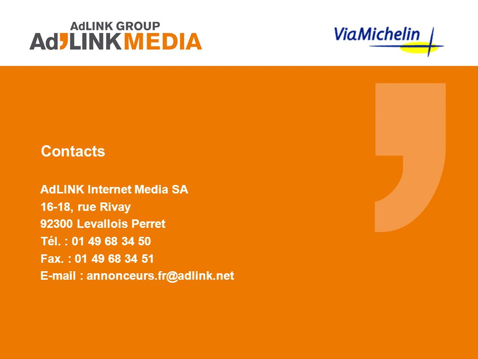Contacts AdLINK Internet Media SA 16-18, rue Rivay